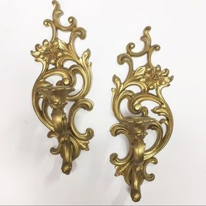 Syroco Accents - Vintage Hollywood Regency Wall Candle Sconces Pair